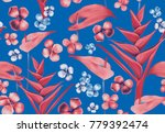 tropical seamless pattern with... | Shutterstock . vector #779392474
