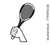 hand holding a tennis racket | Shutterstock .eps vector #779393218