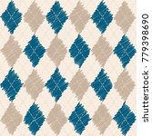 argyle knit pattern  blue and... | Shutterstock .eps vector #779398690
