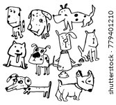 stylized funny doodle dogs.... | Shutterstock .eps vector #779401210