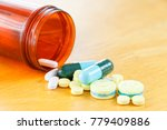many colors pill or drugs are... | Shutterstock . vector #779409886