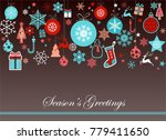 vintage blue and red christmas... | Shutterstock .eps vector #779411650