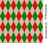 christmas argyle knit pattern ... | Shutterstock .eps vector #779412640