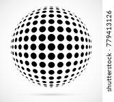 white 3d vector halftone sphere.... | Shutterstock .eps vector #779413126