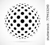 white 3d vector halftone sphere.... | Shutterstock .eps vector #779413240