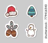 set of santa cap  snow man  fir ... | Shutterstock .eps vector #779416540