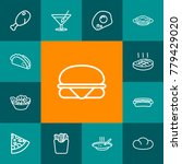 set of 13 dish outline icons... | Shutterstock .eps vector #779429020