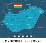 hungary map and flag   high...
