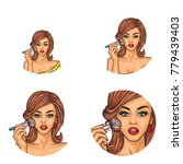 set of vector pop art round... | Shutterstock .eps vector #779439403