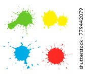 set of paint spots of different ... | Shutterstock .eps vector #779442079