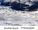 Small photo of Skiers on the Cable car to the Groste-pass, Madonna di Campiglio, skiers on slope in ski resort Italian Alps in sunny day in Madonna di Campiglio,italy