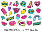 set of cute fashion patches ... | Shutterstock . vector #779446756