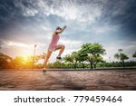 runner are running and jumping... | Shutterstock . vector #779459464