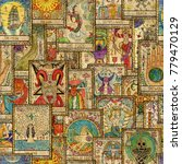 seamless pattern with old tarot ... | Shutterstock . vector #779470129