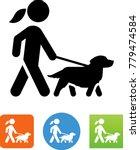 woman walking golden retriever... | Shutterstock .eps vector #779474584