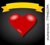 red heart on black background... | Shutterstock .eps vector #779482294