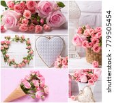collage with photos of  tender...   Shutterstock . vector #779505454