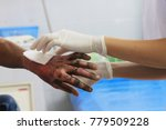 Small photo of Dressing wound burn of second degree of wrist and hand with blur