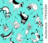 playing dogs seamless pattern.... | Shutterstock .eps vector #779510284