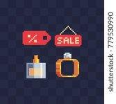 shopping icons set. pixel art... | Shutterstock .eps vector #779530990