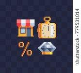 shopping icons set. pixel art...   Shutterstock .eps vector #779531014