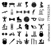 exercise icons set of 36