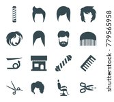 haircut icons. set of 16... | Shutterstock .eps vector #779565958