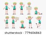 set of female character in... | Shutterstock .eps vector #779606863