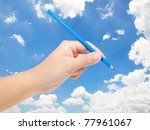 hand holding color pencil... | Shutterstock . vector #77961067