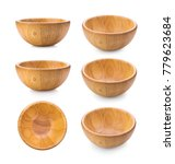 Small photo of wood bowl on white background