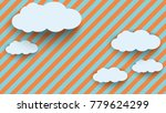 cloud in paper art style on... | Shutterstock .eps vector #779624299