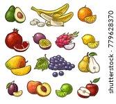set fruits. mango  lime  banana ... | Shutterstock .eps vector #779628370