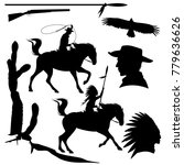 wild west theme black vector... | Shutterstock .eps vector #779636626