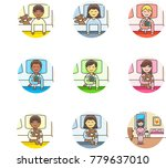 lifestyle  multicolor icon set | Shutterstock .eps vector #779637010