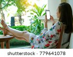Girl Sit On Wood Chair Relax B...