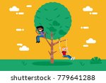 children playing in a tree. ...   Shutterstock .eps vector #779641288