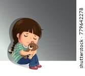 Sad Little Girl Sitting Alone...