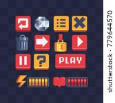 pixel art icons set. video game ...