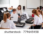 teenage students studying... | Shutterstock . vector #779645458