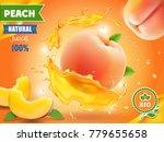 Peach Juice. Realistic Splash...