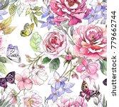watercolor floral pattern.... | Shutterstock . vector #779662744