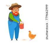 old man farmer in coverall... | Shutterstock .eps vector #779662999