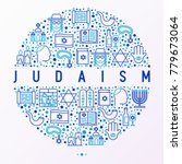 judaism concept in circle with... | Shutterstock .eps vector #779673064