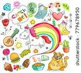 colorful unicorn doodle | Shutterstock .eps vector #779678950