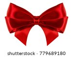 beautiful red silk gift ribbon... | Shutterstock . vector #779689180