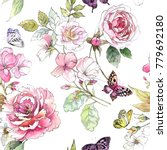 Stock photo watercolor floral pattern seamless pattern with purple and pink bouquet on white background 779692180
