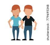 couple faceless avatar cartoon   Shutterstock .eps vector #779695348