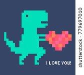 vector pixel art dinosaur in... | Shutterstock .eps vector #779697010