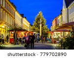 MURNAU, GERMANY - DECEMBER 12: people and stands at the famous christmas market on December 7, 2017 in Murnau, Germany - stock photo