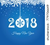 happy new year 2018 in blue... | Shutterstock .eps vector #779706649